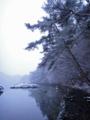 [風景][リアス][三陸][冬][空]汽水の路、雪(舞根湾)