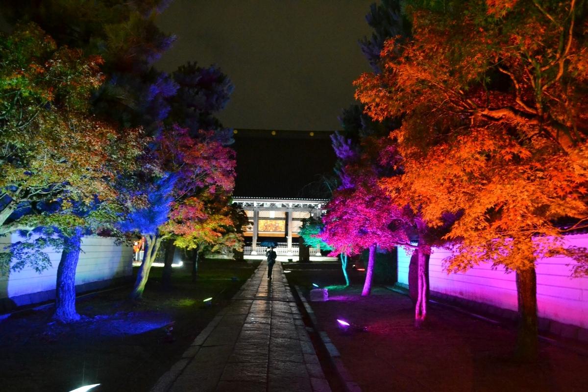 妙顕寺・山門の紅葉ライトアップ 見頃近し 2017年11月11日 撮影:MKタクシー