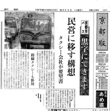 1978年7月 京都市バス民営化構想を提案