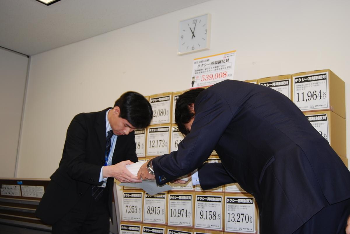 2008年11月 国土交通省に再規制反対署名提出