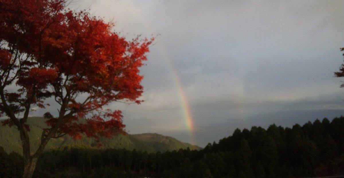 奥比叡ドライブウェイの紅葉と虹 見頃 2013年11月13日 撮影:MKタクシー