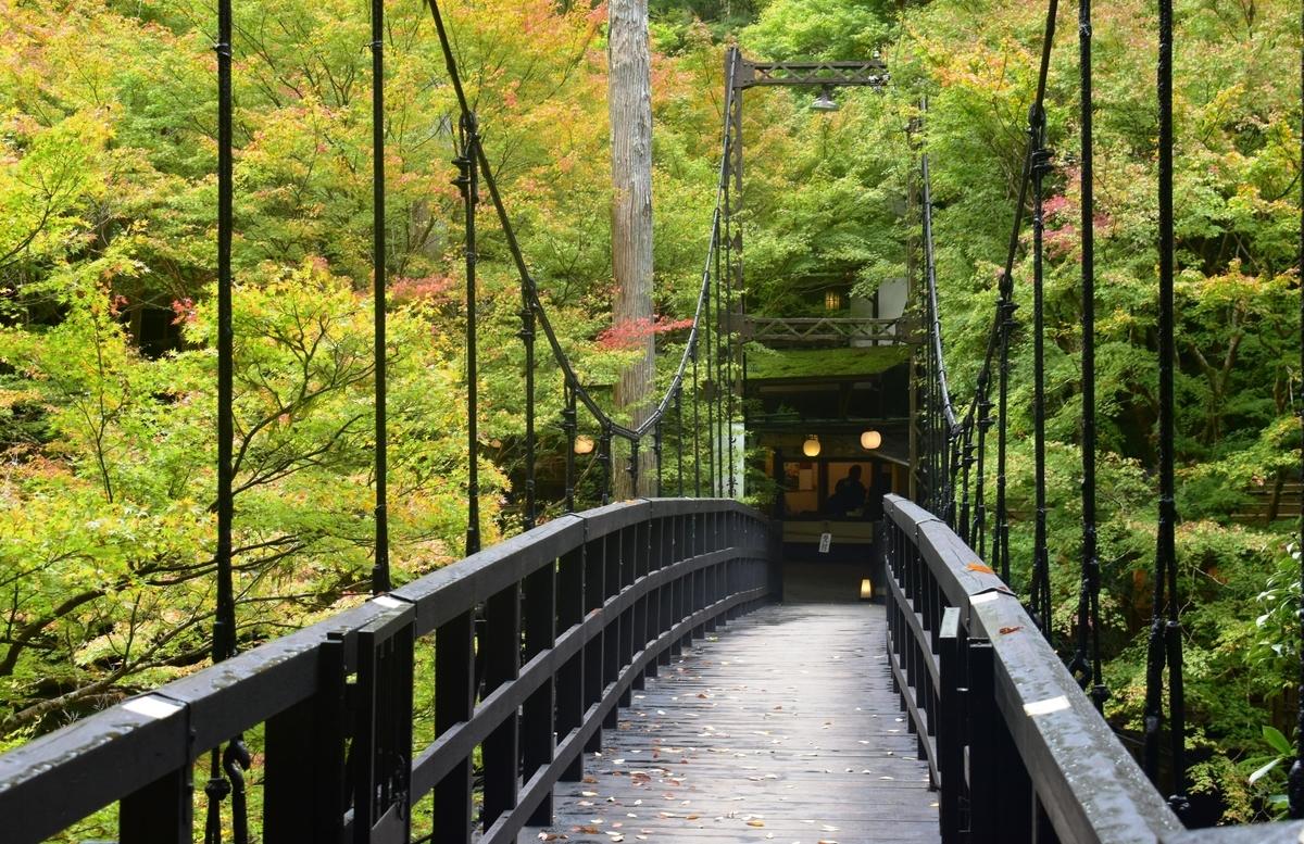 もみぢ橋の紅葉 色づきはじめ 2018年11月4日 撮影:MKタクシー