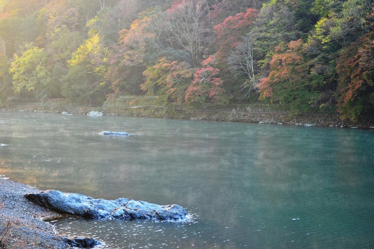 早朝の大堰川に湧く川霧 2017年11月15日 撮影:MKタクシー