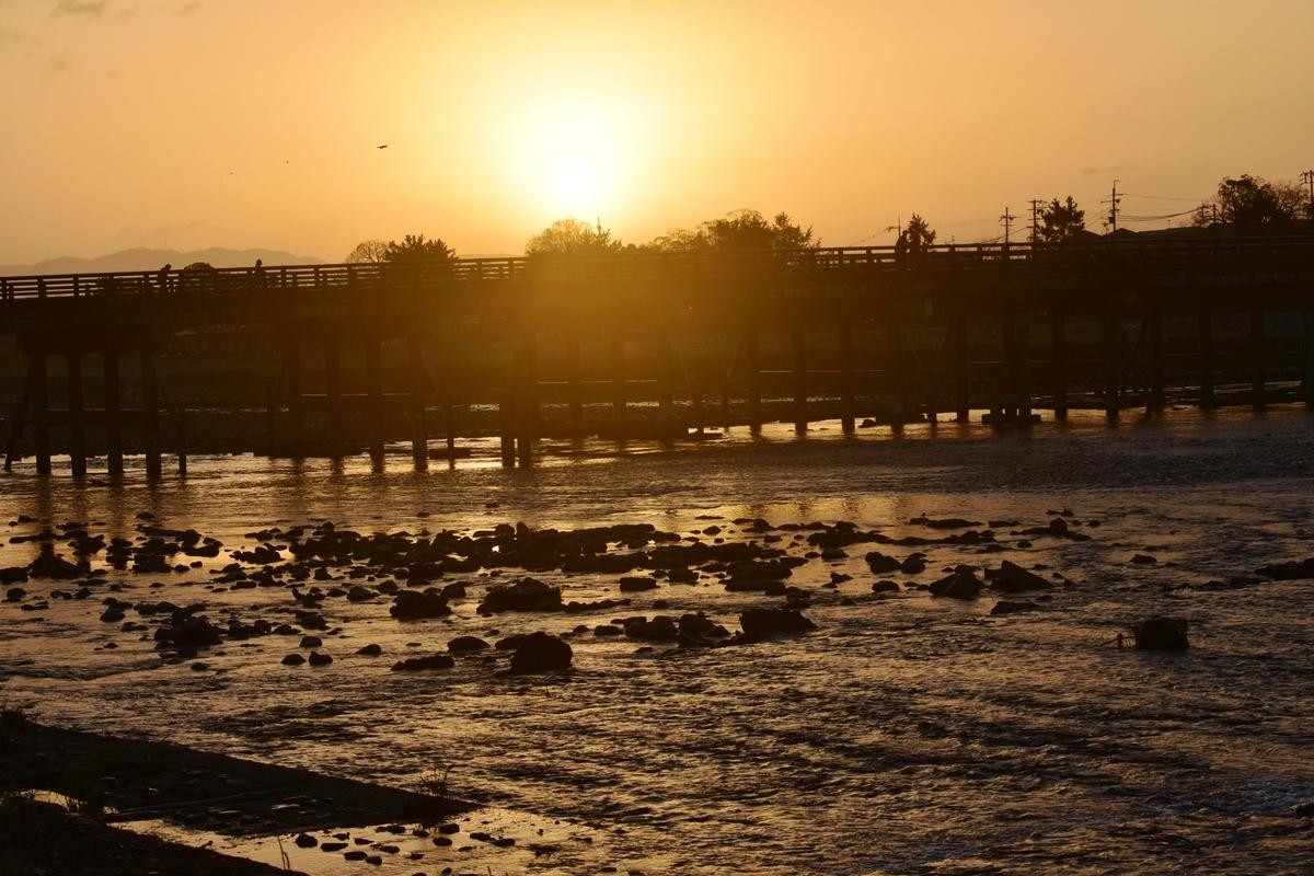 渡月橋と日の出 2018年11月29日 撮影:MKタクシー