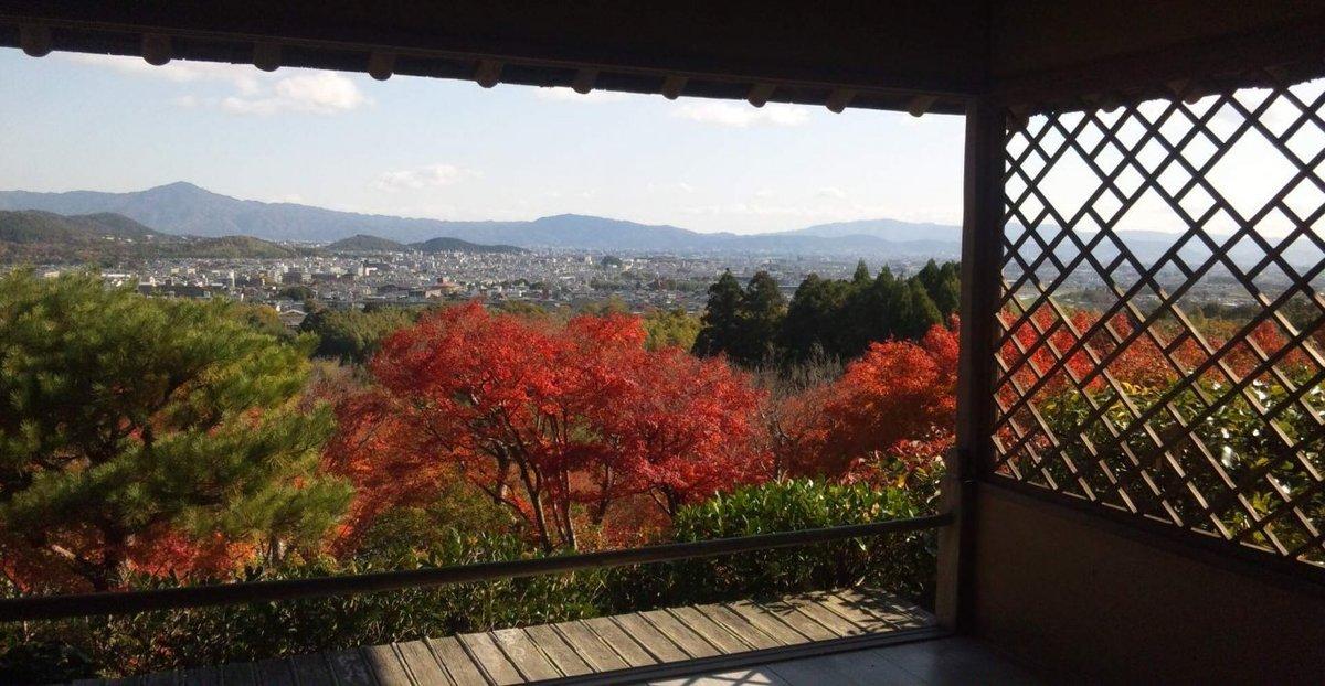 大河内山荘・展望台からの紅葉と京都盆地遠望 見頃 2013年11月19日 撮影:MKタクシー