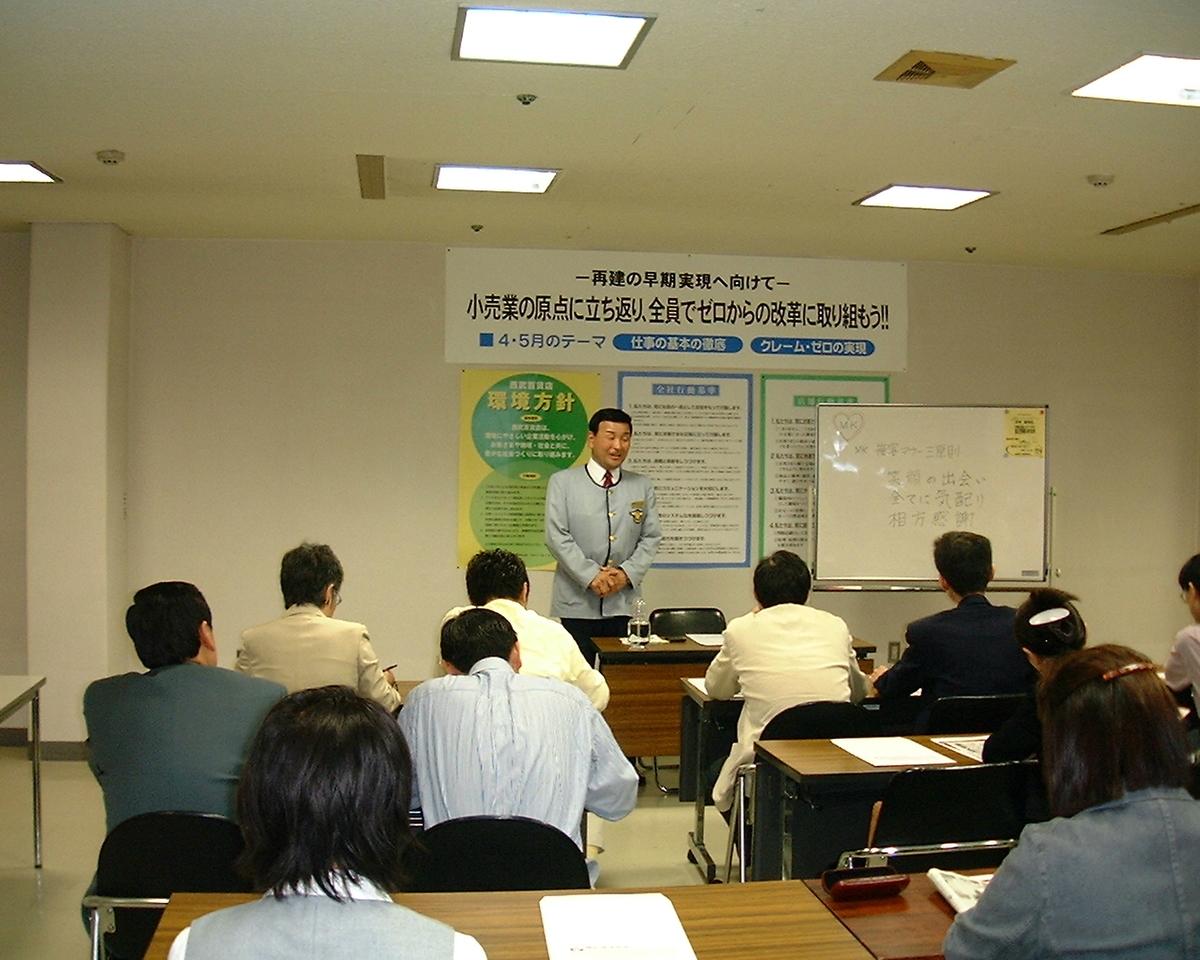 講演する中村壽男社員(2003年)