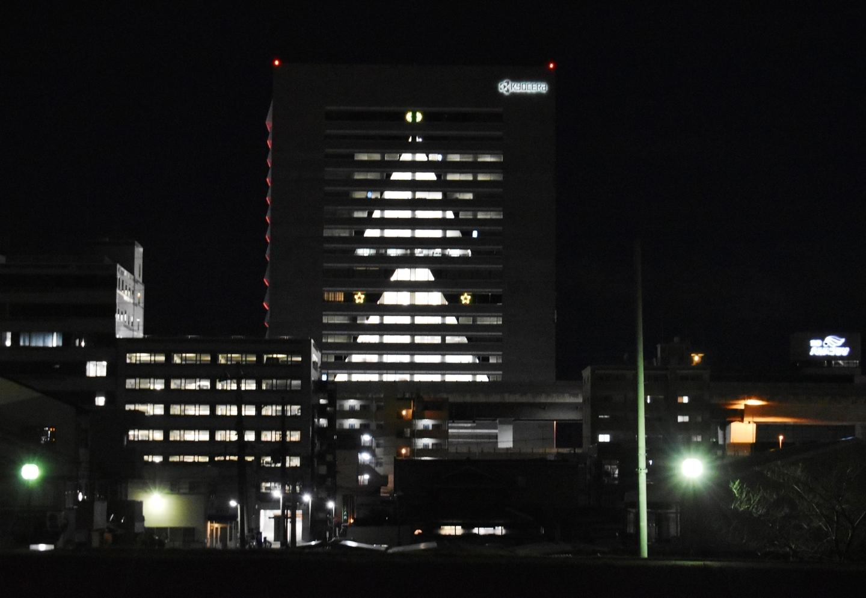 高瀬橋からの京セラ本社イルミネーション2020 2020年12月15日 撮影:MKタクシー