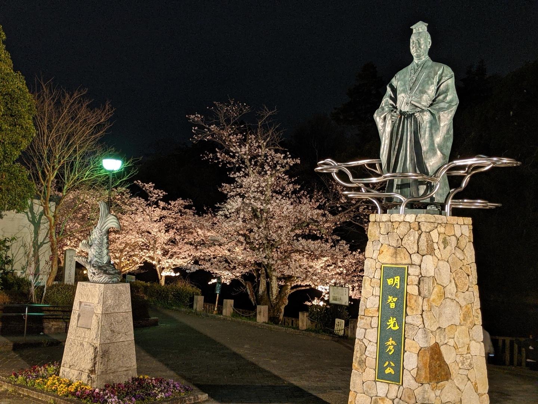 南郷公園の明智光秀像