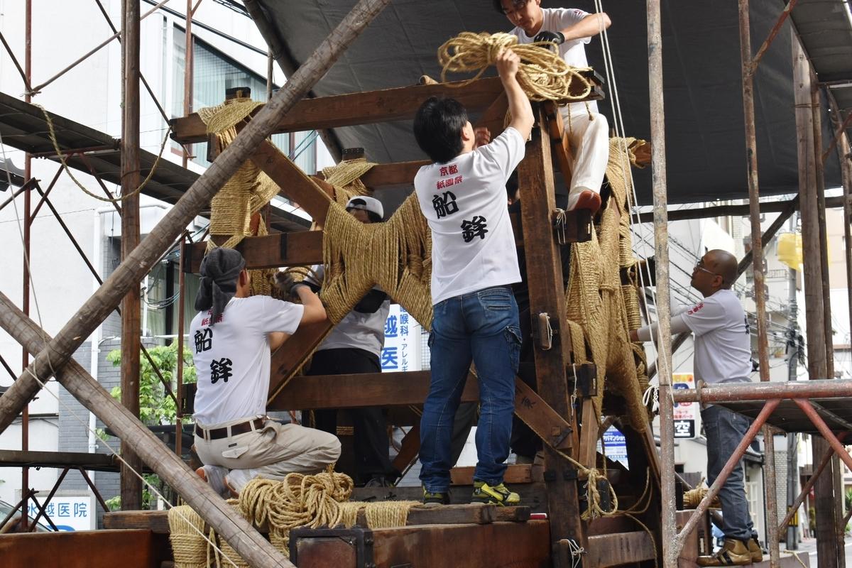 船鉾の山鉾建て 2019年7月12日 撮影:MKタクシー