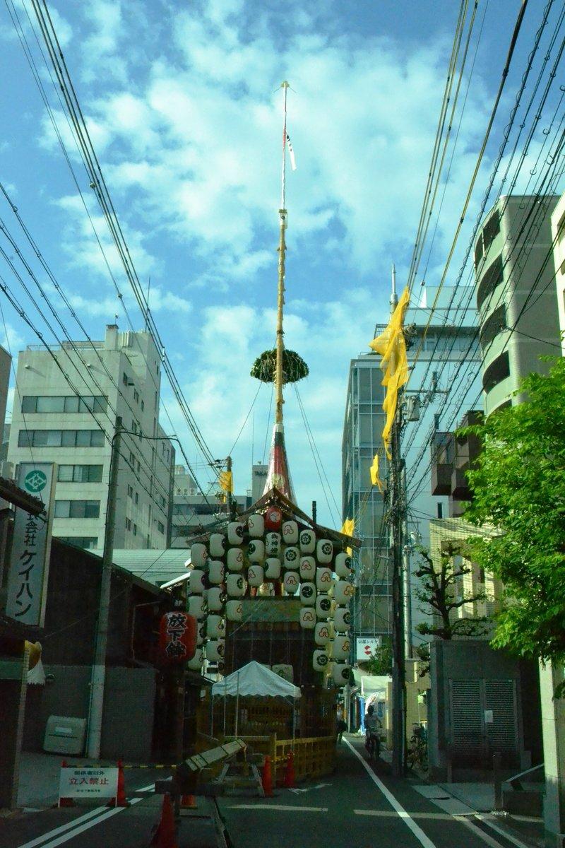 放下鉾の山鉾建て 2017年7月14日 撮影:MKタクシー