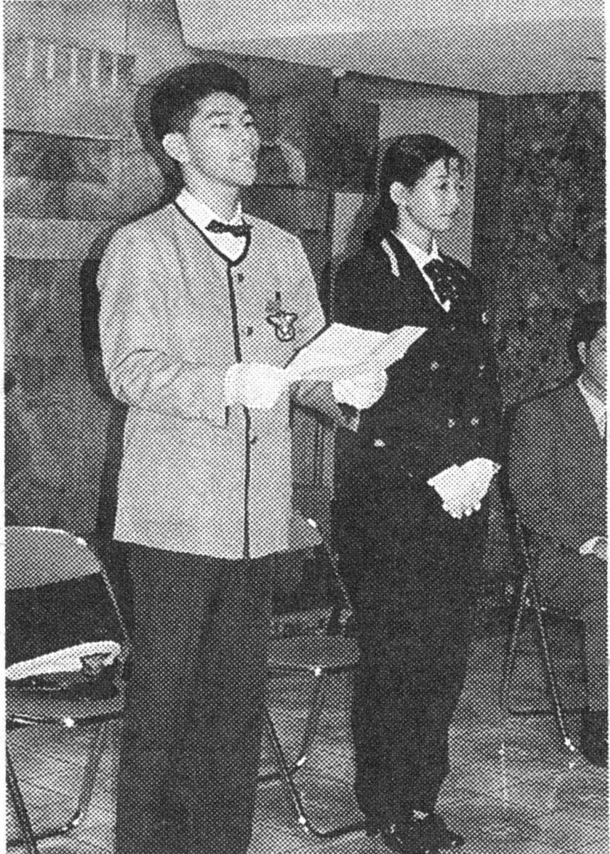 出発式で決意を述べる藤崎社員 MK新聞1997年10月1日号より