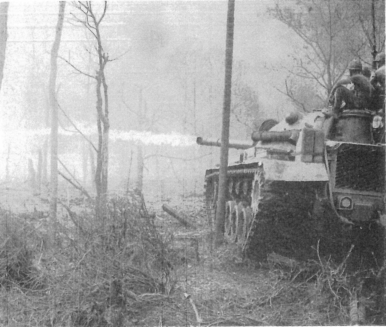 米国海兵隊の火炎放射戦車がクアンガイ省ビンソン県の村に火を放つ。革命軍が支持を集めている地域から民間人を追い出すため、しばしばこうして村が焼き払われた。 出典:ニック・タース著『動くものはすべて殺せ アメリカ兵はベトナムで何をしたか』