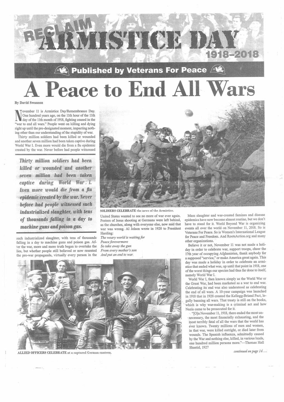新聞(全16ページ)のタイトルは「休戦記念日を守れ」。この新聞の最終面には「平和を遂行せよ」の横断幕を掲げてデモをするVFPの人たちの写真がある