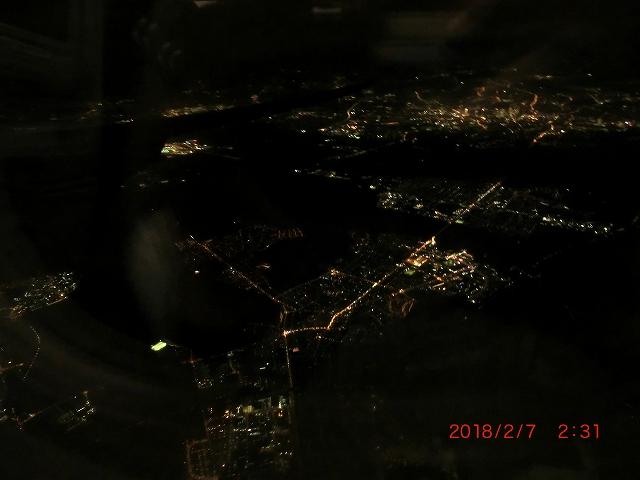 飛行機内から見るフランクフルト夜景
