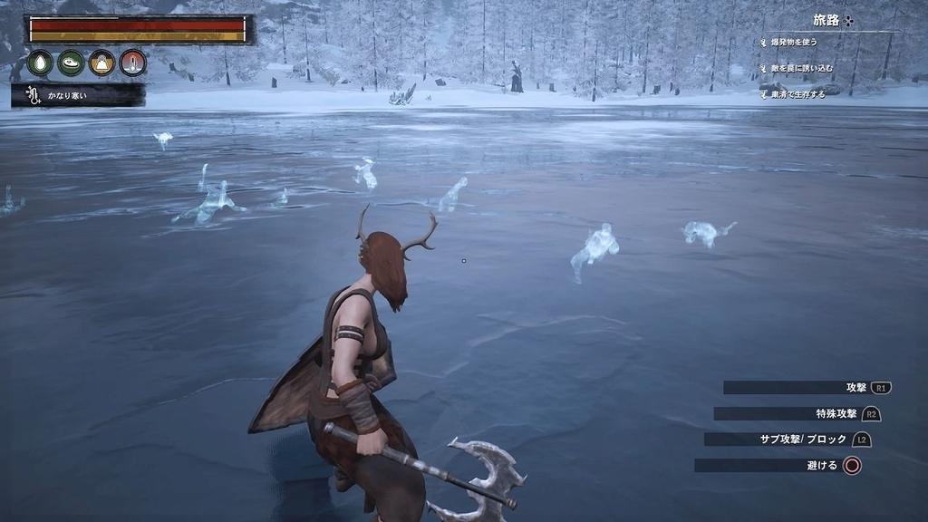 凍った湖中に浮く者たち