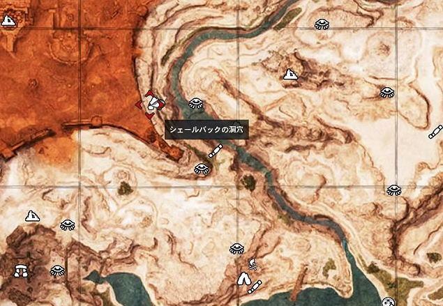 シェールバックの洞穴 地図
