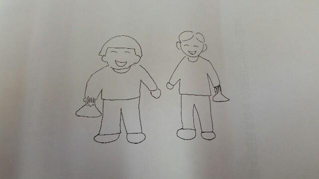 勝手に雑草取りをやってしまう男の子と女の子の絵