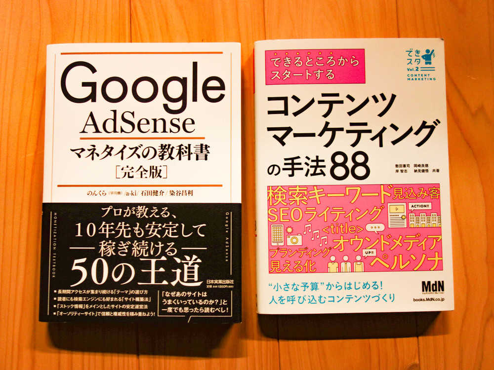 サイト構築指南本2冊、「のんくら本」と「できスタ」の写真