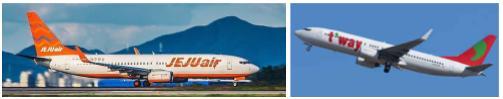チェジュ航空とティーウェイ航空の飛行機