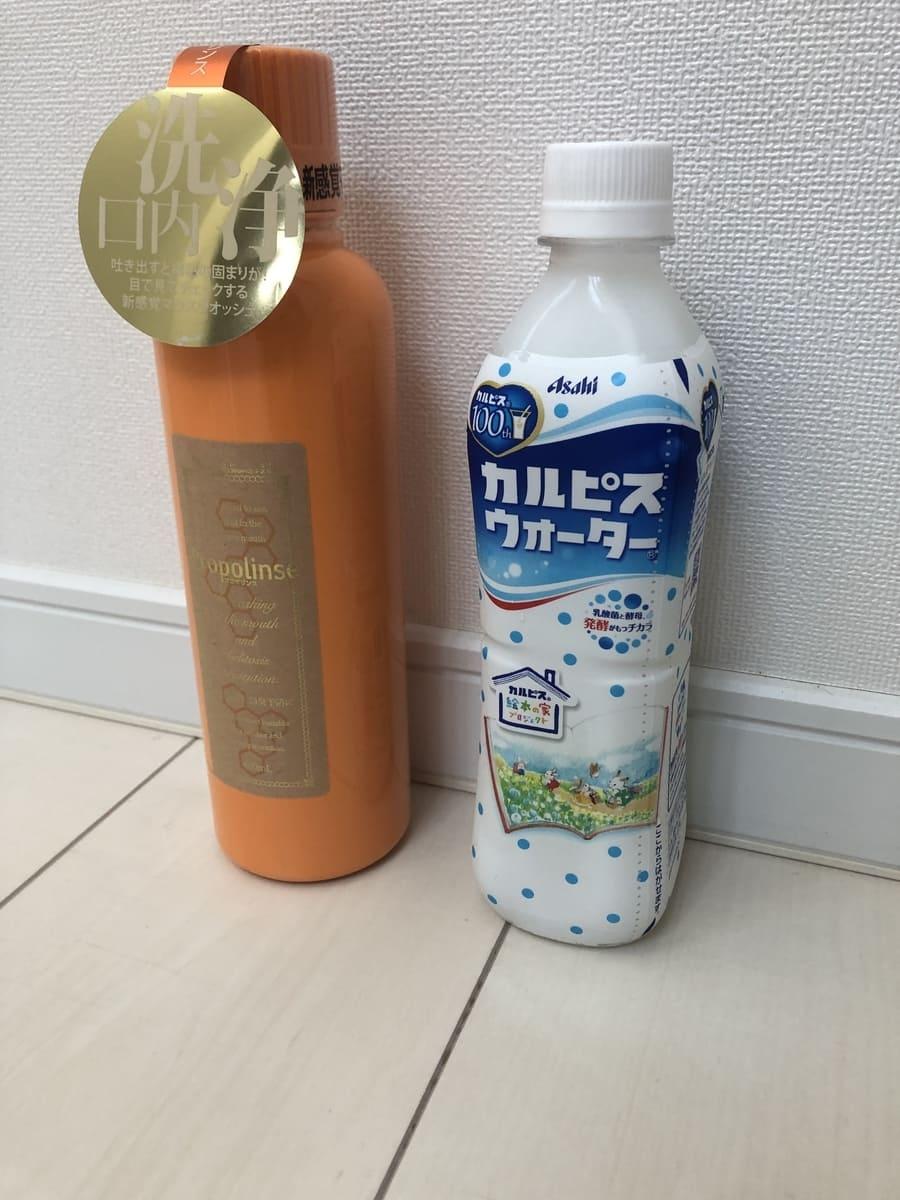 商品とペットボトル