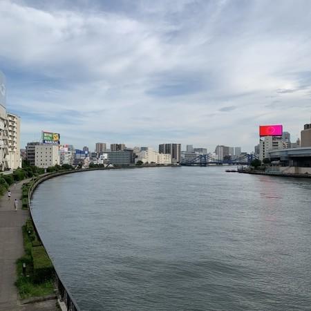 夏の夕暮れ 隅田川テラス 新大橋