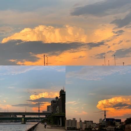 夕暮れ 夏の雲 隅田川テラス