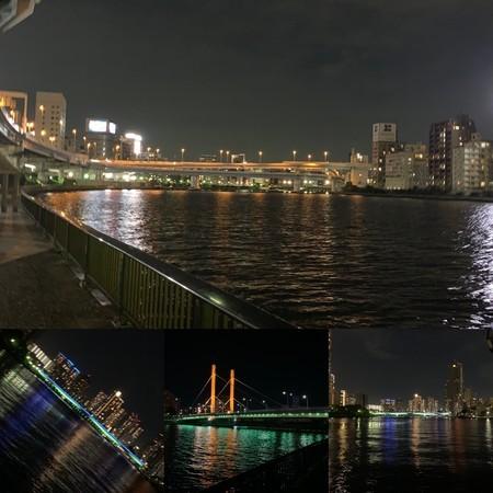 隅田川の夜の情景 首都高6号向島線 佃大橋 新大橋