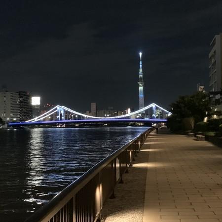 東京スカイツリー 背景 ライトアップ 清洲橋