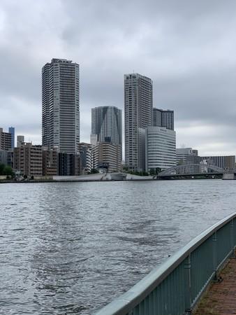 月島川水門テラス連絡橋 右岸 景色