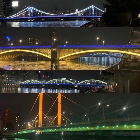隅田川テラス ライトアップ 清洲橋 新大橋 蔵前橋 厩橋