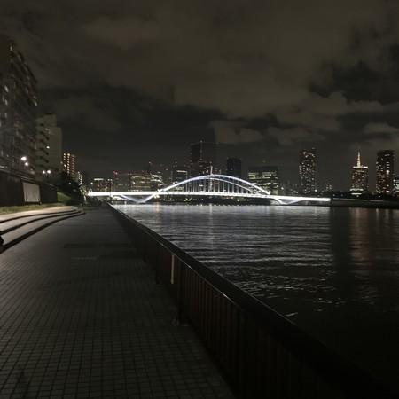築地大橋 ライトアップ