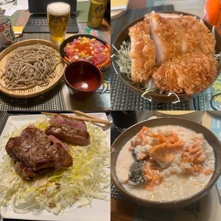 丼物 麺類 豚肉ソテー 鮭のかす汁