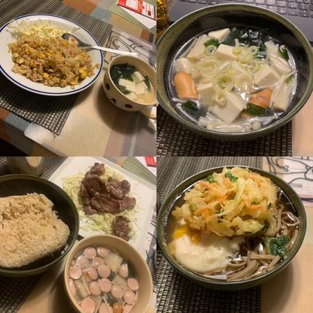 炒飯、創味シャンタンスープ、ラム焼肉、天ぷらそば