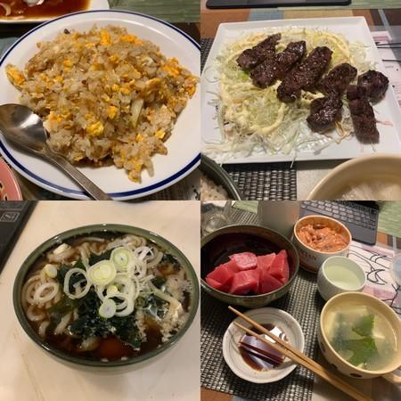 炒飯、うどん、焼肉、マグロぶつ