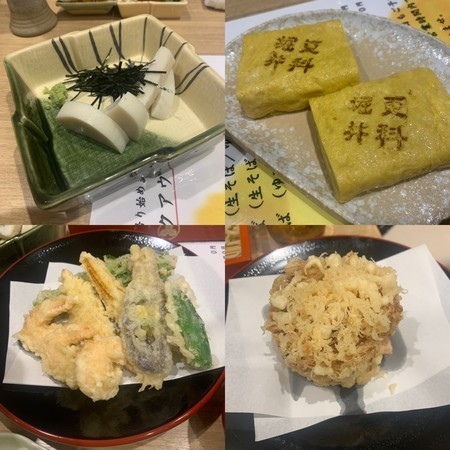 板わさ、玉子焼き、天ぷらいろいろ