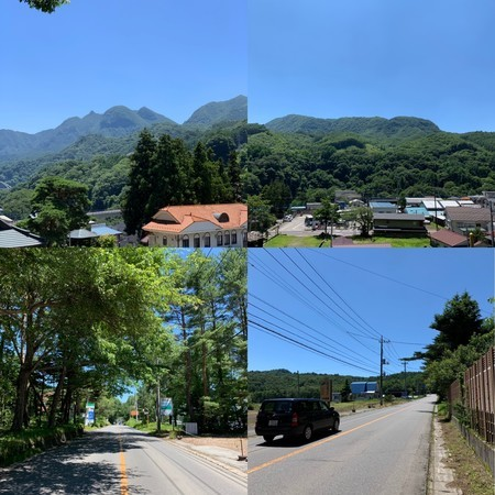 Maruyama (Maru Iwa) seen from Naganohara Unrinji Temple and the Romantic Road that passes in front of my house are also summer, summer, summer.