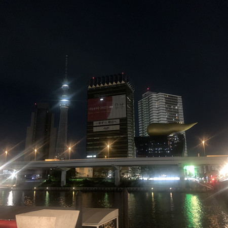 The Asahi Breweries Head Office seen from the opposite shore