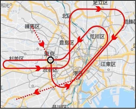 Planned Blue Impulse display flight route