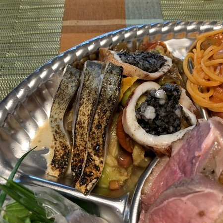 Squid with Sime Mackerel and Squid Ink Risotto