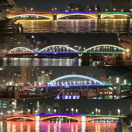 Kuramae-bashi, Umabayashi-bashi, Komagata-bashi, and Azuma-bashi bridges are lit up in the colors of the Olympics.
