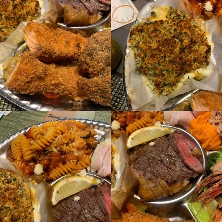 Clockwise from top left: fried salmon, herb-roasted swordfish, sirloin steak, pasta.