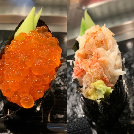 An abundance of salmon roe and crab meat