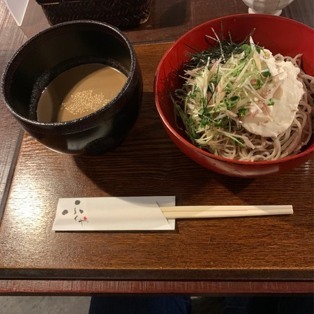 Cold soba noodles with tofu and condiments. Served with sesame sauce.