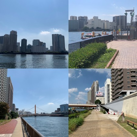 Various views of the Sumida River Terrace