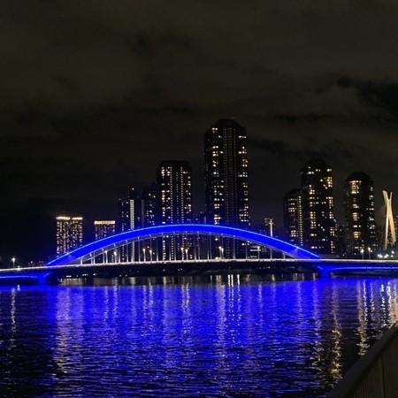 Eitaibashi Bridge in Eitai-blue