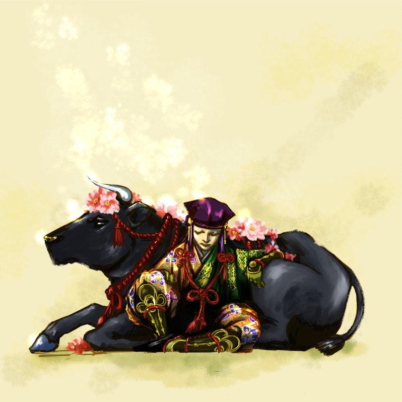 武者と花とワタシ(牛)