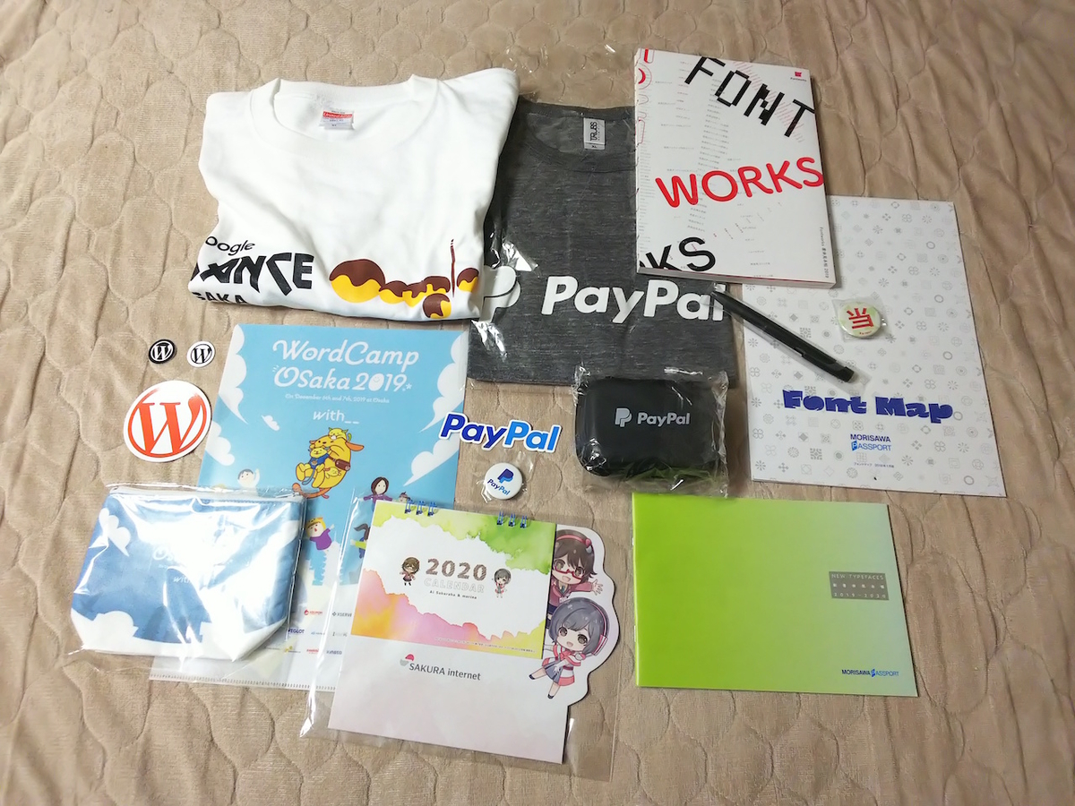 WordCamp Osaka 2019ノベルティなど。