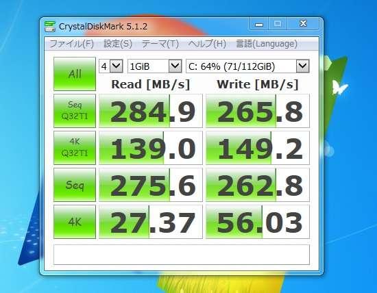 SSD換装後の読み書き速度