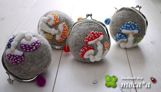 [プレゼント][ギフト][てんとう虫][キノコ][羊毛フェルト][ハンドメイド][雑貨][がま口財布][ハリネズミ][てんとう虫]