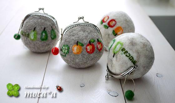 [プレゼント][ギフト][リンゴ][りんご][羊毛フェルト][ハンドメイド][雑貨][がま口財布][洋梨][ラ・フランス]